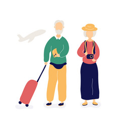 couple old people waiting for flight in airport vector image