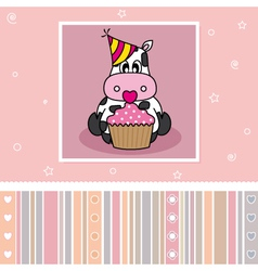 Cow with a cupcake vector image