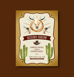 Cowboy poster design with cow skull cactus hat vector