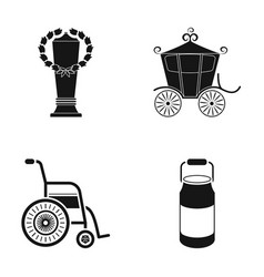 Cup coach and other web icon in black style vector