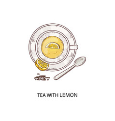 cup herbal tea with a slice lemon icon vector image
