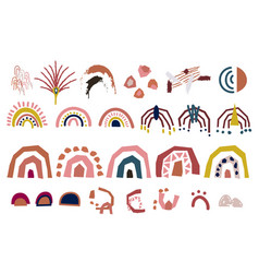 Cut out paper abstract modern shapes set vector