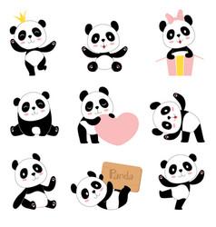 cute bapandas toy animals chinese symbols vector image