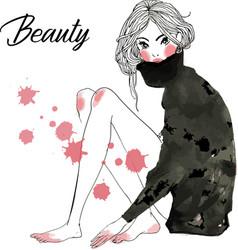cute cartoon fashion sketched girls vector image