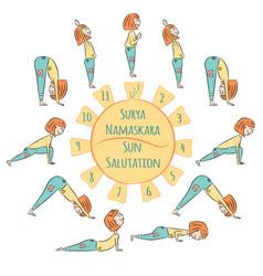 cute yoga kid surya namaskar royalty free vector image