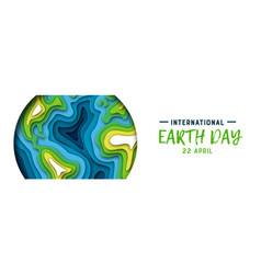 earth day banner of green paper cutout planet vector image