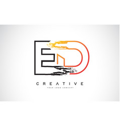 Ed creative modern logo design with orange and vector