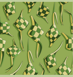 Eid al fitr ketupat rice cake seamless pattern vector