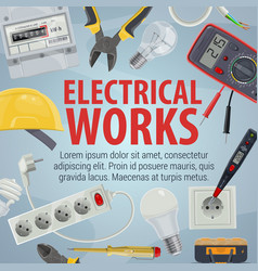 Electrician tools icons and electrical works vector
