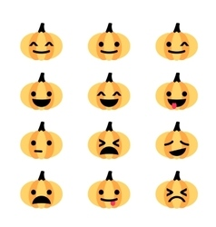 Emoji pumpkin icon set vector