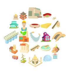 entity icons set cartoon style vector image