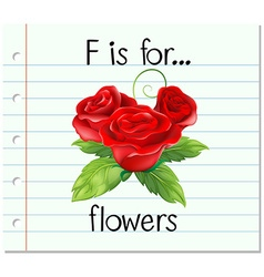 Flashcard letter F is for flower vector