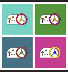 Flat icon design collection steering wheel vector