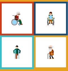 Flat icon handicapped set of disabled person vector