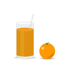 Fresh orange and a glass of juice squeezed vector