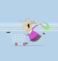 Fun old woman rides on shopping cart vector