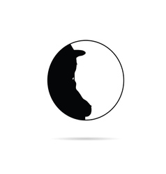 Girl in circle silhouette in black vector
