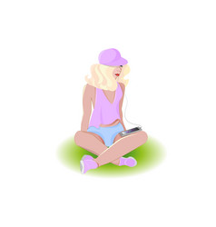 girl sits and listens to music vector image