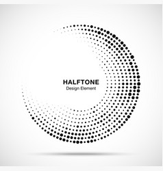 Halftone circle frame black abstract random dots vector