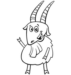happy goat farm animal character color book vector image