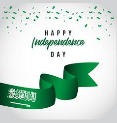 Happy saudi arabian independent day template vector