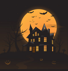 Haunted house background vector