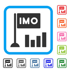 Imo bar chart framed icon vector