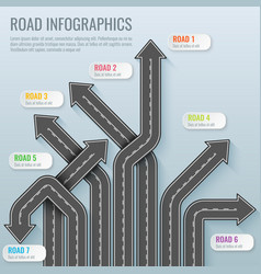 Infographics template with road map top view vector