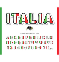 italy cartoon font italian national flag colors vector image