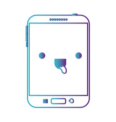 Kawaii tablet device icon in degraded blue to vector