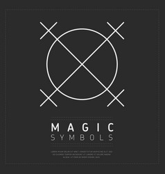 Linear white magic symbol in circle vector