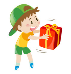 little boy holding present box vector image