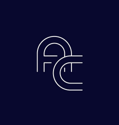 Logo ac letters minimal line design vector