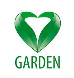 Logo heart of green leaves vector