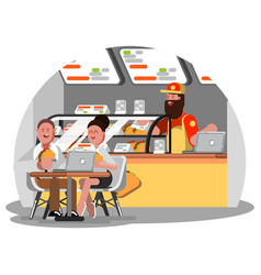 man and woman eating mexican food vector image