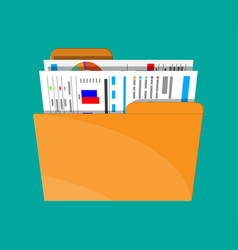 Manila folder with financial report with charts vector