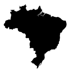 Map of brazil high detailed silhouette map vector