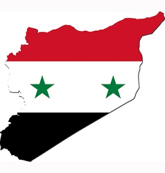 map syria with national flag vector image