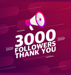 Megaphone with 3000 followers banner vector