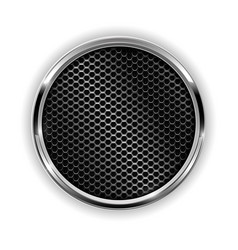 Metal chrome perforated button vector