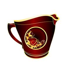 Milk jug of black and red porcelain gold vector