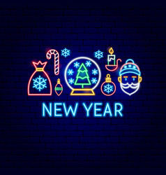 new year neon label vector image