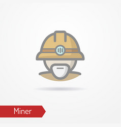 Old miner face icon vector