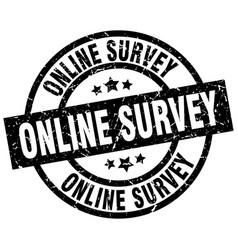 online survey round grunge black stamp vector image