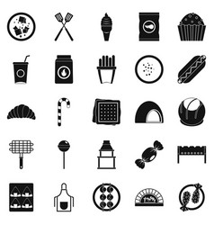 Overeating icons set simple style vector