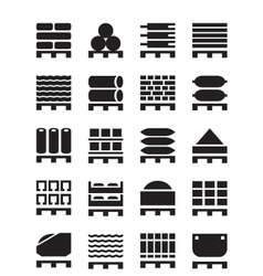 Pallets with construction materials vector