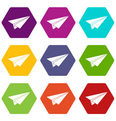paper airplane icon set color hexahedron vector image