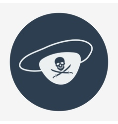 Pirate icon eye-patch with jolly roger Flat vector