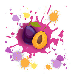 Plum fruit logo watercolor splash design fresh vector