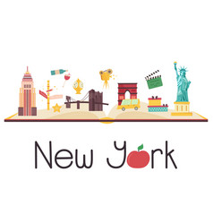postcard with famous new york destinations symbol vector image
